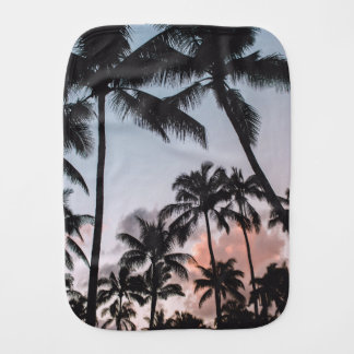 Relaxing Tropical Palm Trees Sunset Beach Baby Burp Cloth