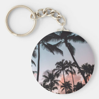 Relaxing Tropical Palm Trees Sunset Beach Basic Round Button Key Ring