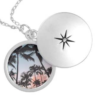 Relaxing Tropical Palm Trees Sunset Beach Locket Necklace