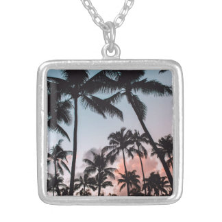 Relaxing Tropical Palm Trees Sunset Beach Silver Plated Necklace