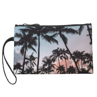 Relaxing Tropical Palm Trees Sunset Beach Wristlet Purse