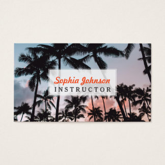 Relaxing Tropical Palm Trees Sunset Business Card