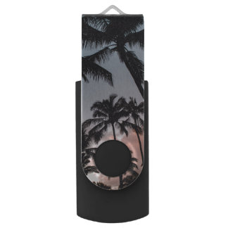 Relaxing Tropical Palm Trees Sunset USB Flash Drive