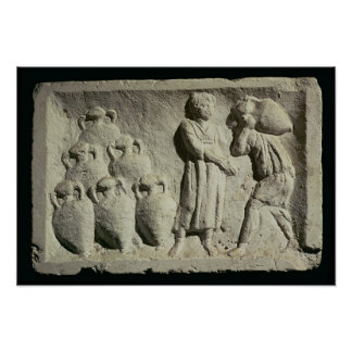 Relief depicting a delivery of wine poster