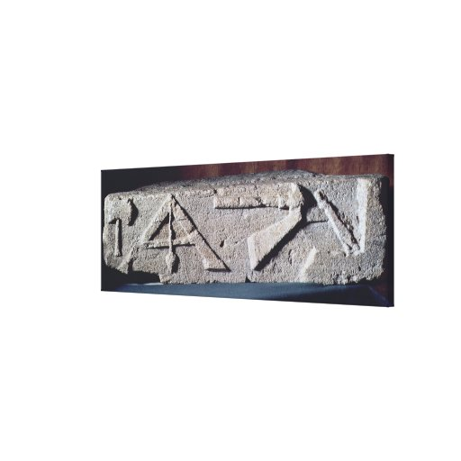 Relief depicting a stonemason's instrument gallery wrap canvas