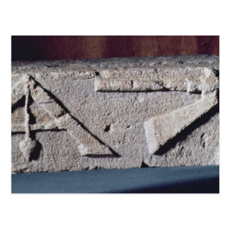 Relief depicting a stonemason's instrument postcard