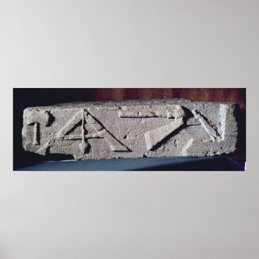 Relief depicting a stonemason's instrument print