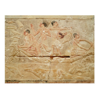 Relief depicting men in a boat postcard