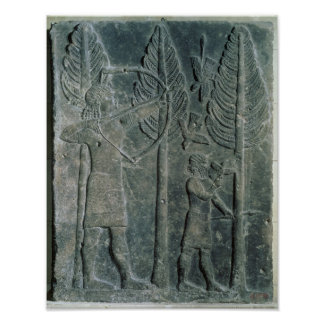 Relief depicting the hunting of birds in the poster