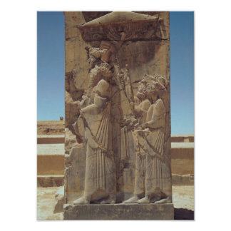 Relief depicting Xerxes I  with two attendants Poster