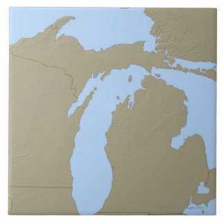 Relief Map of Michigan Ceramic Tile
