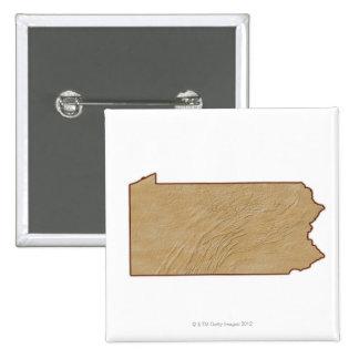 Relief Map of Pennsylvania 15 Cm Square Badge