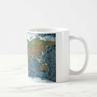 Relief Map of the Earth Coffee Mugs