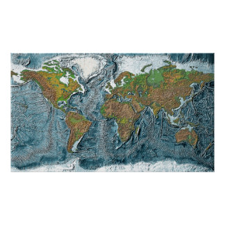 Relief Map of the earth Poster