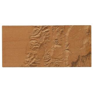 Relief map of Utah Wood USB 2.0 Flash Drive