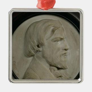 Relief medallion of Frederic Ozanam Silver-Colored Square Decoration
