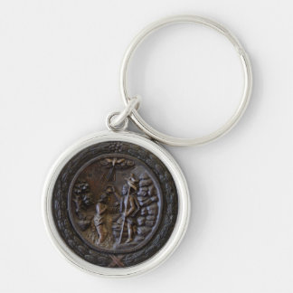 religion christian baptism church wood scene Silver-Colored round key ring