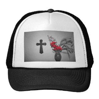 Religion cross flowers trucker hats