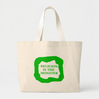 Religion is the monster, green .png large tote bag