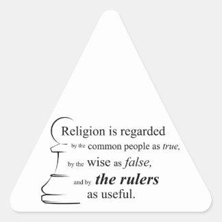 Religion is useful triangle sticker