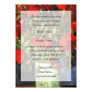 Religions wedding. Vase with Red Poppies. Announcements