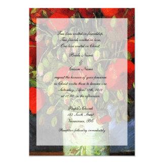 Religions wedding. Vase with Red Poppies. Custom Invite
