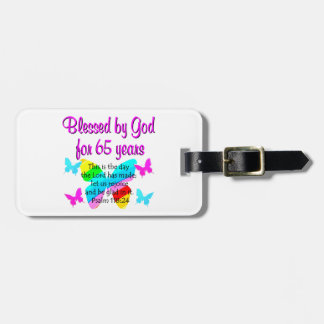 RELIGIOUS 65TH BIRTHDAY BUTTERFLY DESIGN BAG TAG