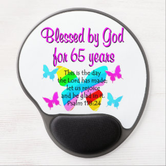RELIGIOUS 65TH BIRTHDAY BUTTERFLY DESIGN GEL MOUSE PAD