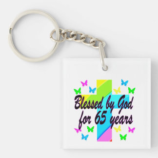 RELIGIOUS 65TH BLESSED BY GOD DESIGN Double-Sided SQUARE ACRYLIC KEY RING