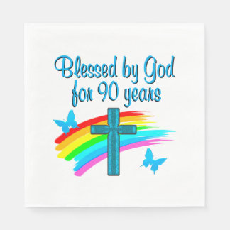 RELIGIOUS 90 YR OLD DISPOSABLE NAPKIN