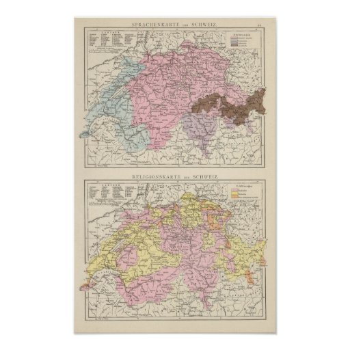 Religious and Linguistic Map of Switzerland Poster
