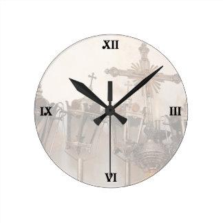Religious artifacts round clock