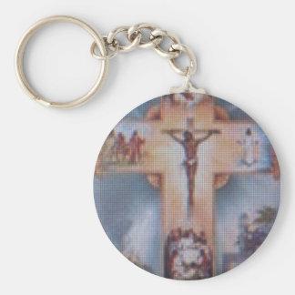 Religious Basic Round Button Key Ring