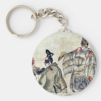 Religious ceremony with rooster Ukiyo-e. Keychain