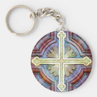 Religious christian cross symbol keychain