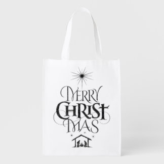 Religious Christian Merry Christmas Black Chalk Reusable Grocery Bag