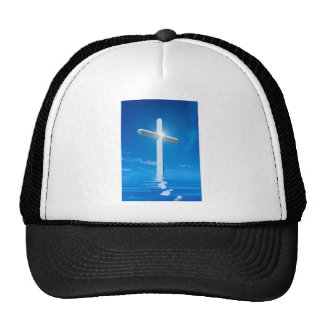 Religious Christianity White Cross Blue Water Cap
