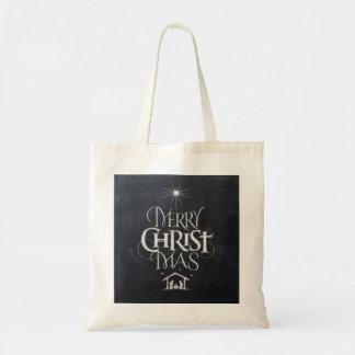 Religious Christmas Black Chalkboard Jesus Christ Budget Tote Bag