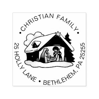 Religious Christmas Nativity Family Return Address Self-inking Stamp