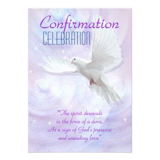 Religious confirmation dove custom invitations