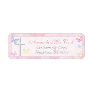 Religious Cross Butterfly Return Address Labels
