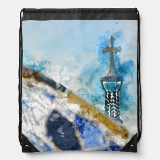 Religious Cross in Barcelona Spain Drawstring Bag