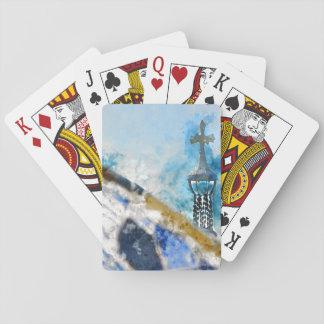 Religious Cross in Barcelona Spain Poker Deck