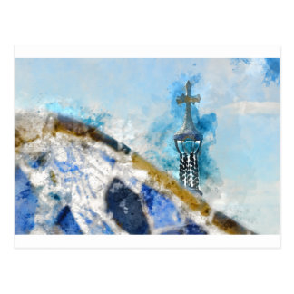 Religious Cross in Barcelona Spain Postcard