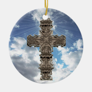 Religious Cross On Blue Skies Ornament