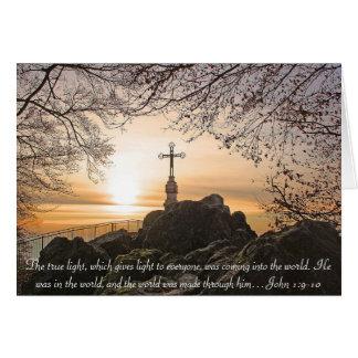 Religious Cross on the Mountain Bible Verse John Card