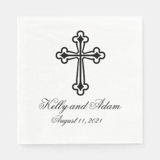 Religious Cross Personalized Wedding Paper Napkin