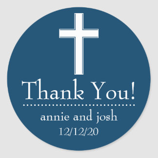 Religious Cross Thank You Labels (Navy Blue/White)