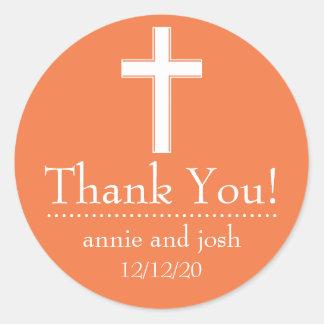 Religious Cross Thank You Labels (Orange / White) Round Sticker