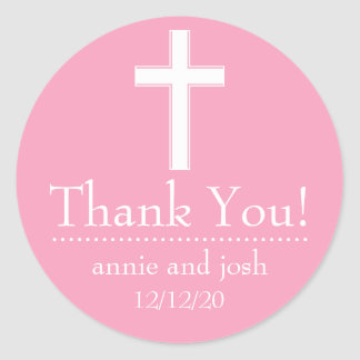 Religious Cross Thank You Labels (Pink / White) Round Sticker